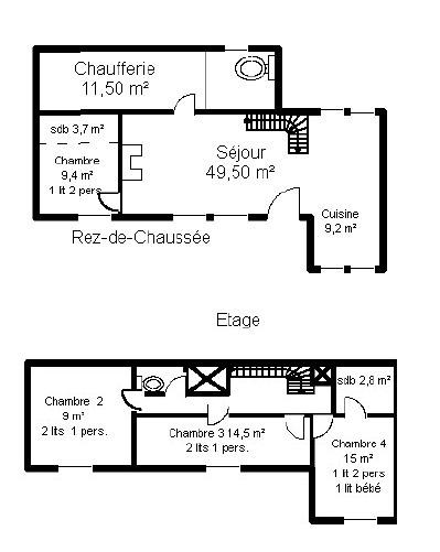 Plan du gîte 8 personnes